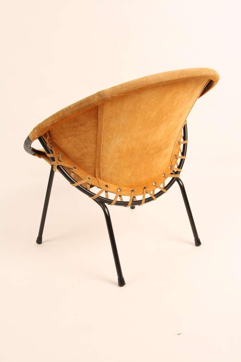 Brown Leather Circle Ottoman