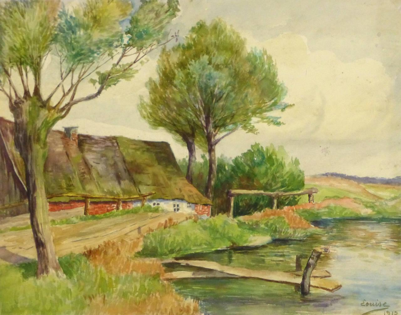 Unknown - Antique French Watercolor Landscape - Riverside ...
