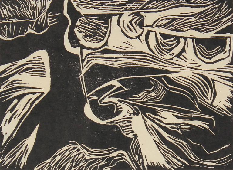 Abstract Linocut Prints