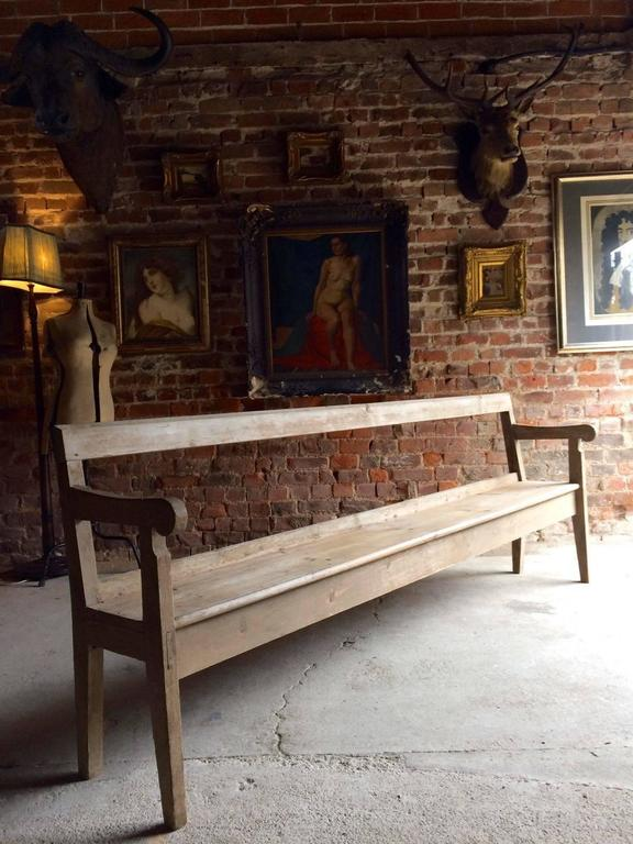 Antique French Pine Bench Pew Pine Rustic Farmhouse