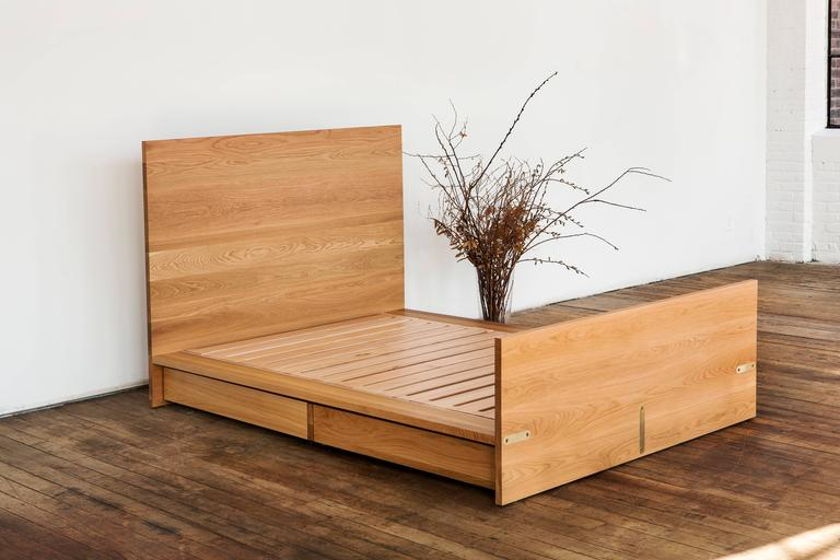 Ab6 Queen Size Contemporary White Oak Platform Bed With