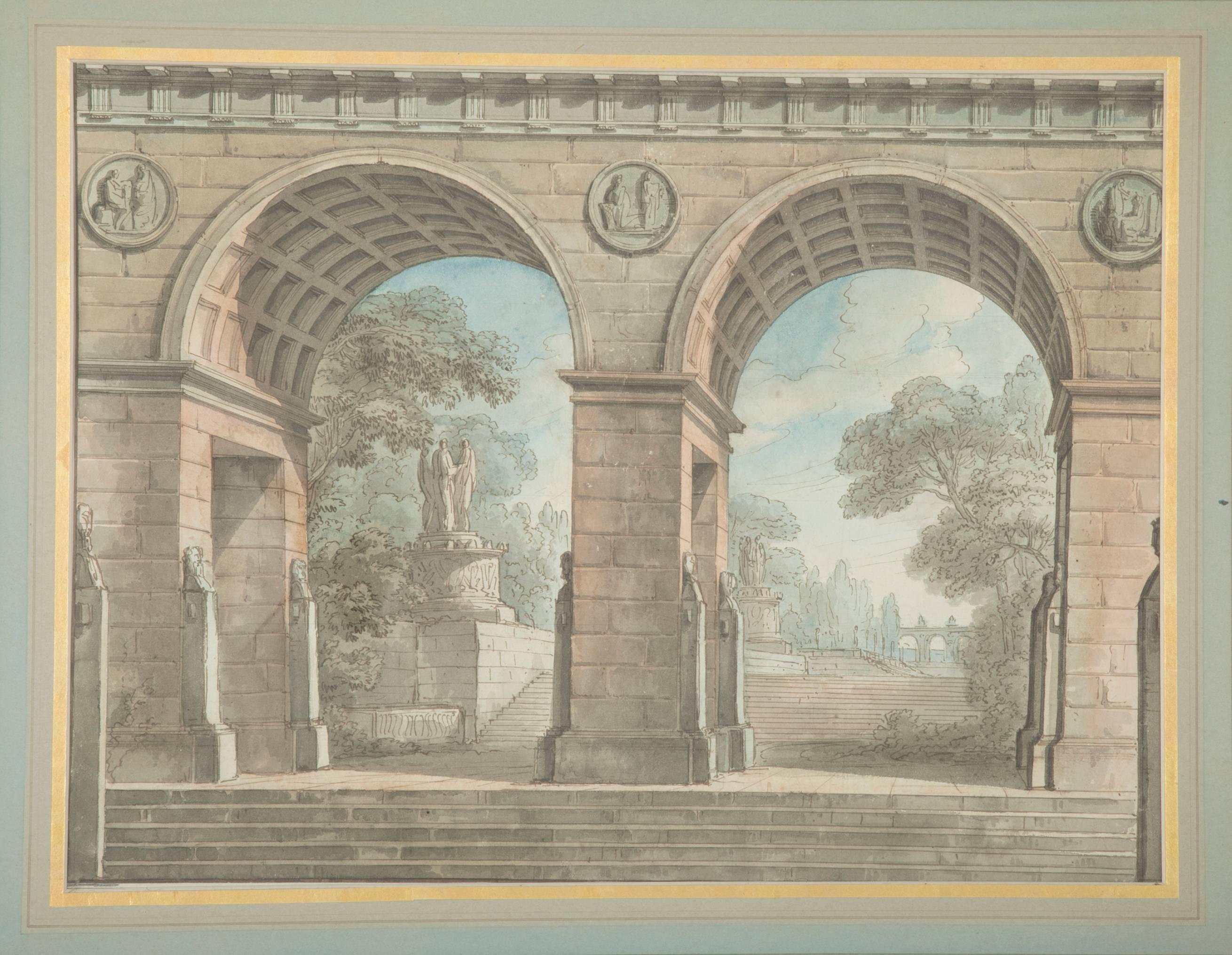 French Neoclassical Architectural Watercolor At 1stdibs