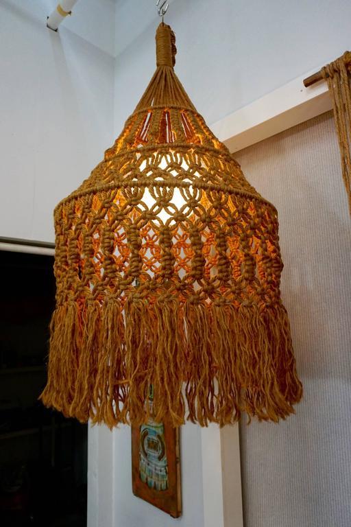 Hanging Organic Macrame Pendant Lamp At 1stdibs