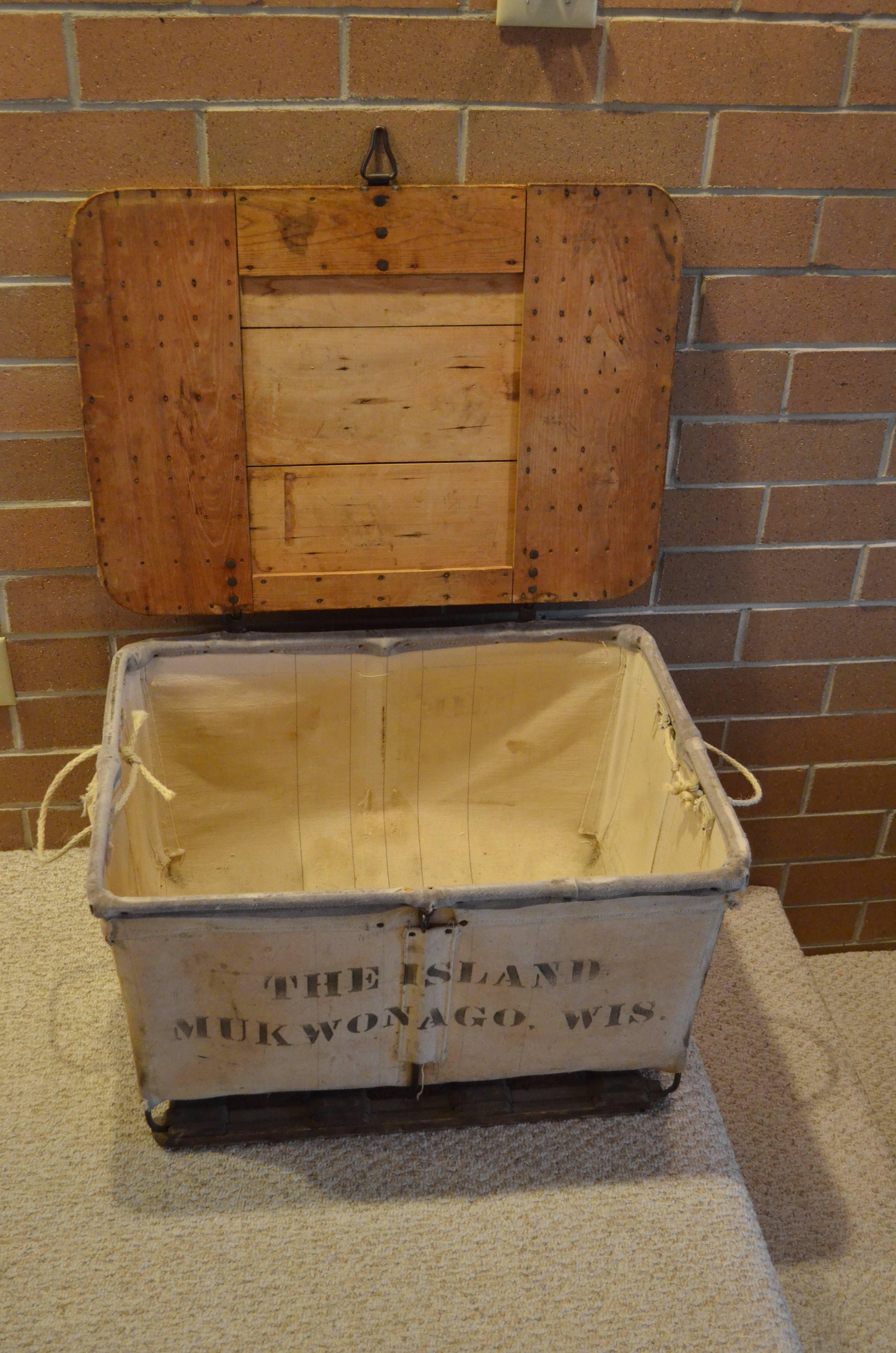 Storage Bin Of Canvas With Wood Top Wood And Steel Frame