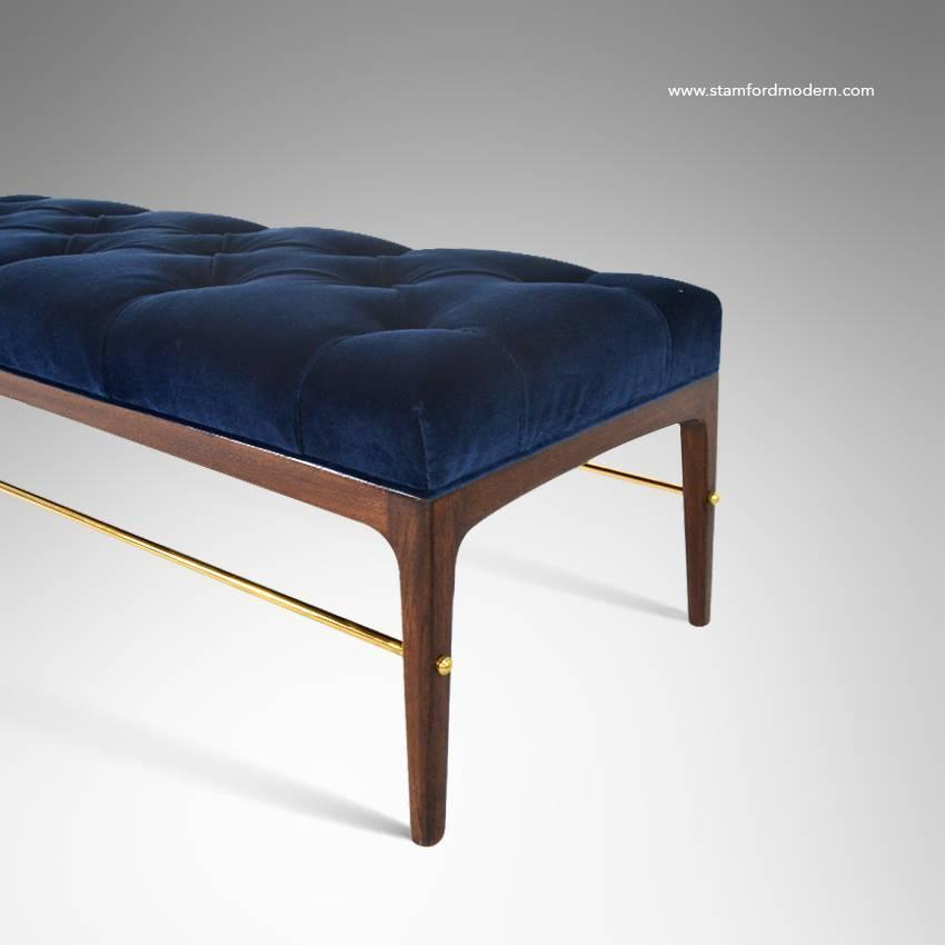 Brass Rodded Bench In Tufted Blue Velvet At 1stdibs