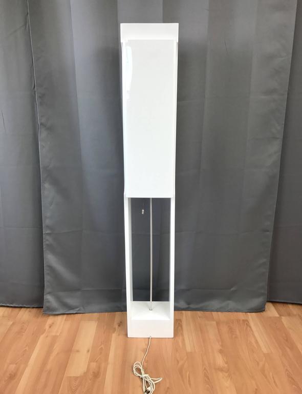 Mid Century Wood Lamp Pillar Floor