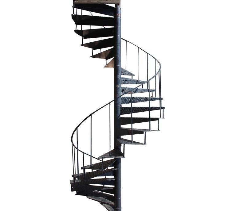 Industrial Cast Iron Spiral Staircase With 22 Diamond Pattern   Cast Iron Spiral Staircase   Modern   Traditional   Stair Case   Kitchen   Railing