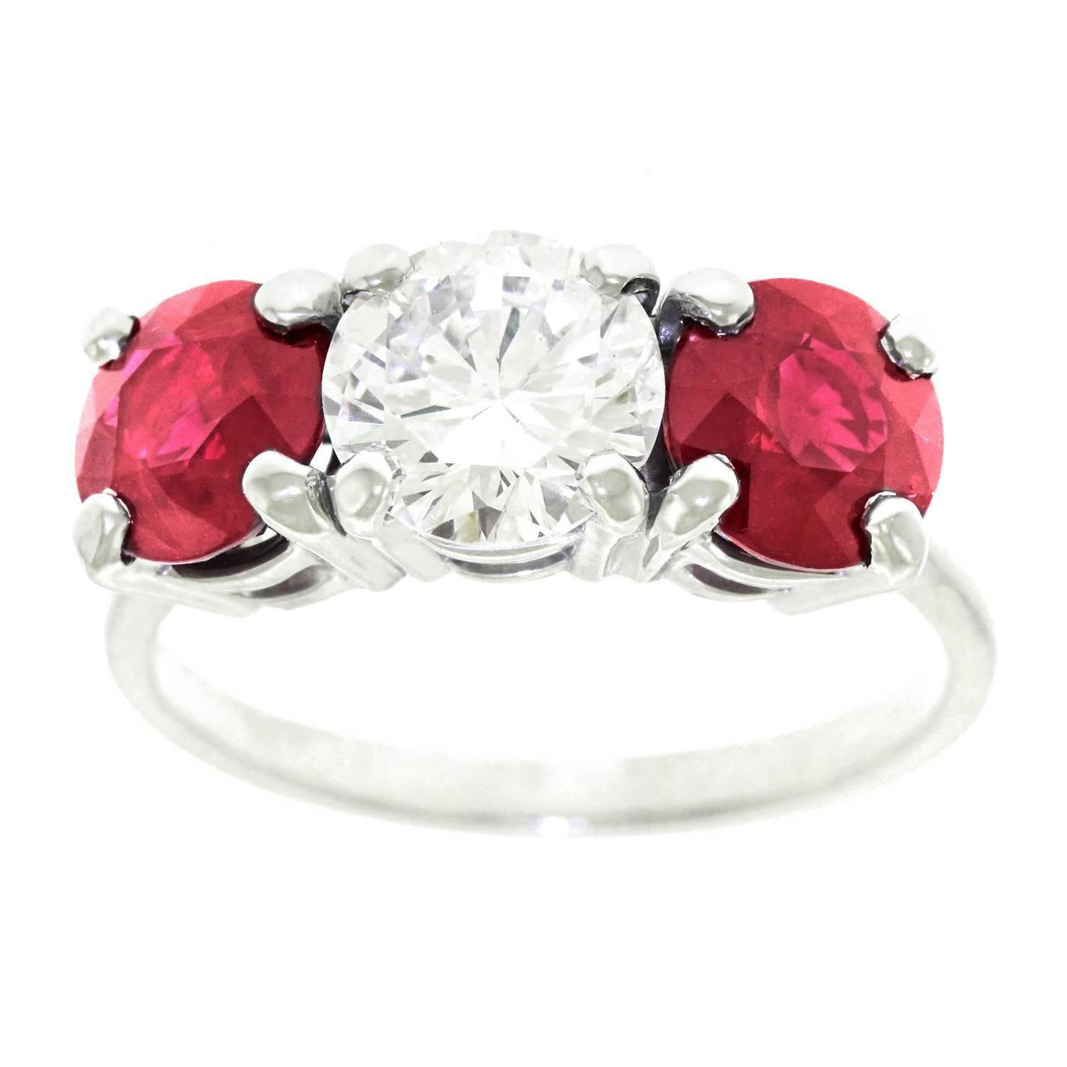 Cartier Engagement Rings   65 For Sale at 1stdibs 1950s Cartier Diamond and Ruby Platinum 3 Stone Engagement Ring GIA