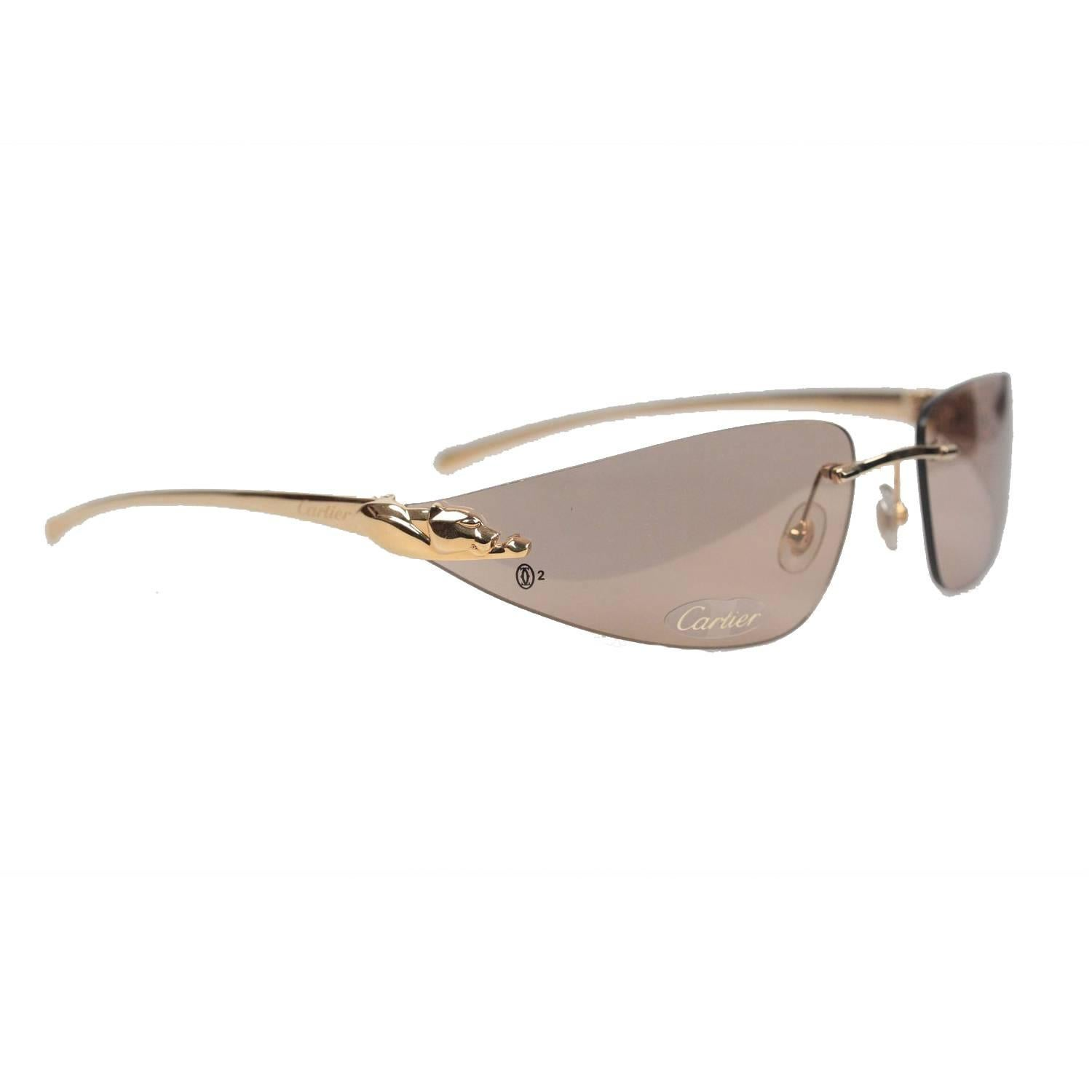 Cartier Paris Sunglasses Panthere T8200611 Gold Brown 110 at 1stdibs Cartier Paris Sunglasses Panthere T8200611 Gold Brown 110 For Sale
