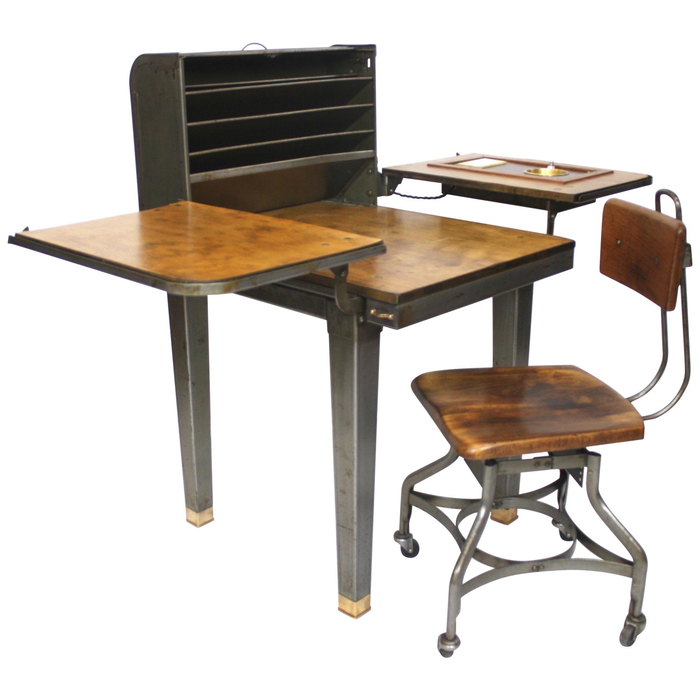 Customized Vintage Industrial Steel Folding Roll Top Desk