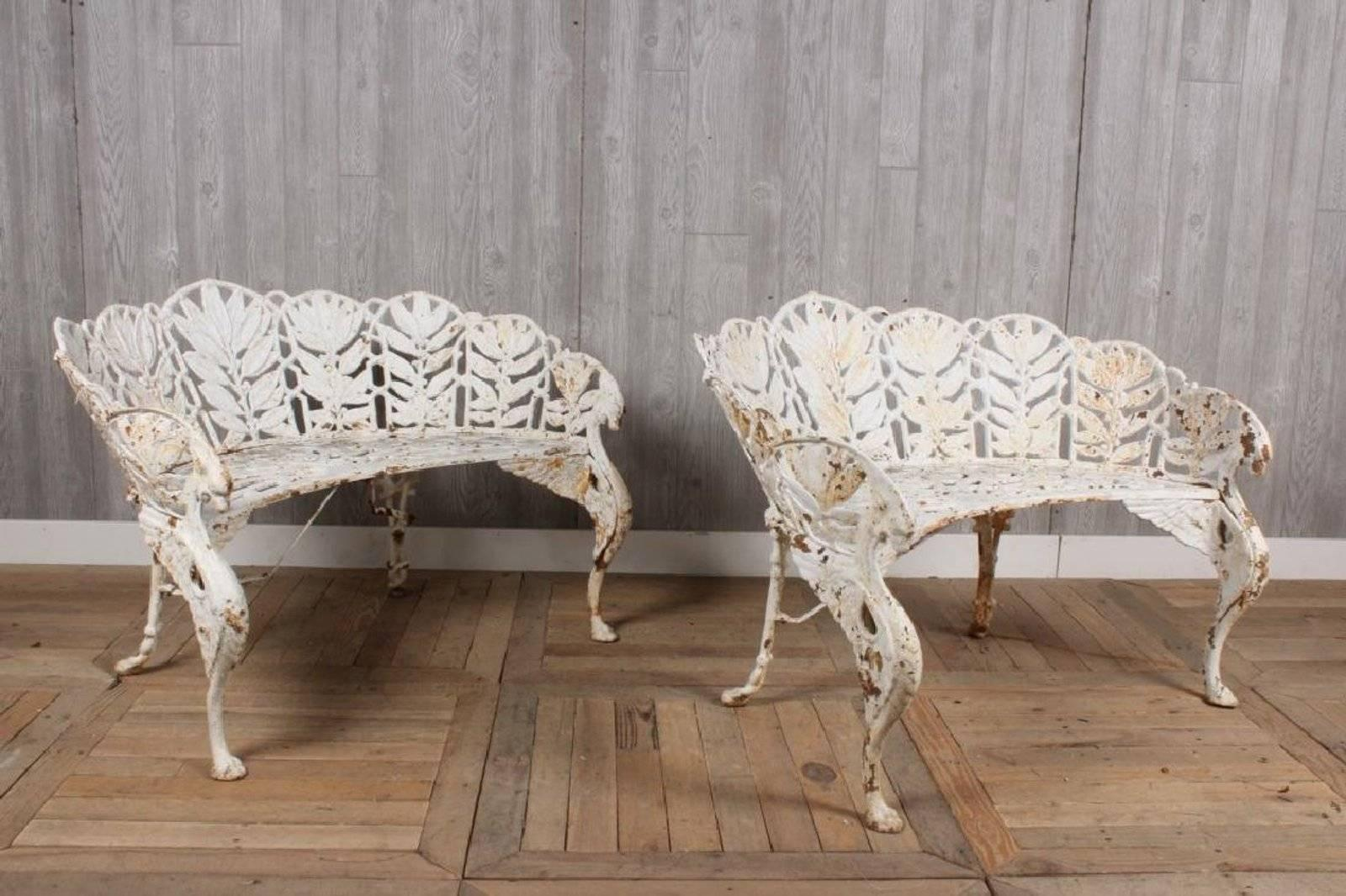 Pair Of Cast Iron Laurel Pattern Garden Benches With