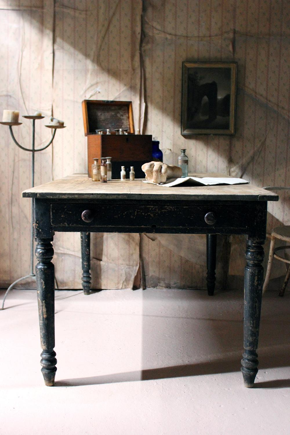 Victorian Black Painted Pine Farmhouse Kitchen Table
