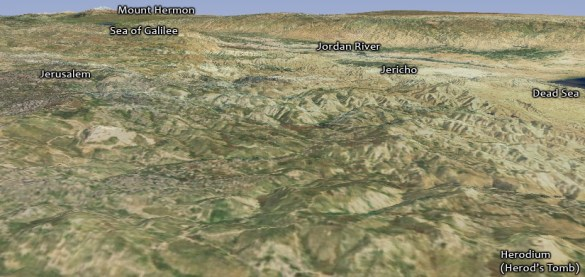 Digital Resources for Bible Mapping      OpenBible info Blog View of Herodium showing the Dead Sea  Jericho  the Jordan River  the Sea