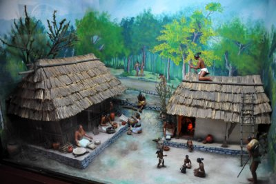 Diorama Of Mayan Village Life National Archaeological