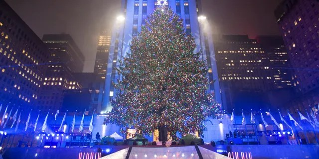 Lit Rockefeller Center Tree