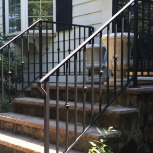 Handrail Installation Companies Custom Handrails Stairway Railings | Decorative Handrails For Stairs | Brushed Nickel | Popular | Corner Interior Stair | Exterior Irregular Stair | Iron Staircase