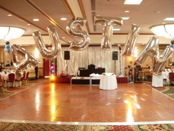 Balloon Decorations   Arches Columns   Names Initials Rooms   Party     Letter Balloons Spell Out A Name Over Dance Floor
