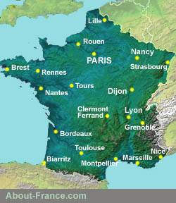 Climate map of France   About France com Map of France