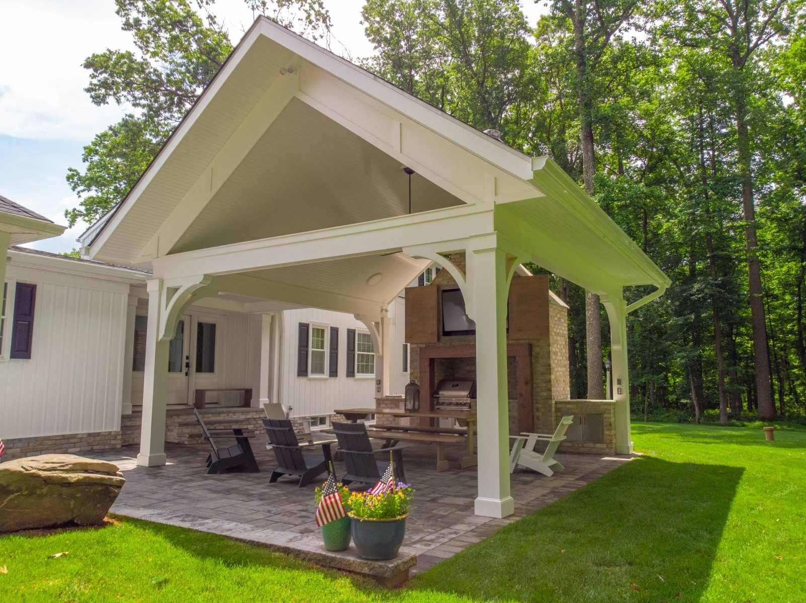 Outdoor Patio Design Installation In Sykesville West | Outdoor Steps Design For House | Deck | Beautiful | Unique Outdoor | Brick | Farm House Wide Front Porch