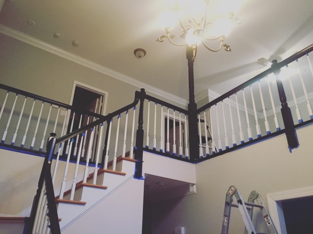 Painting Our Banister Black Accidental Suburbanites | Black Banister With White Spindles | Brazilian Cherry Stair | Victorian | Traditional Home | Iron Spindle White Catwalk Brown Railing | Gray
