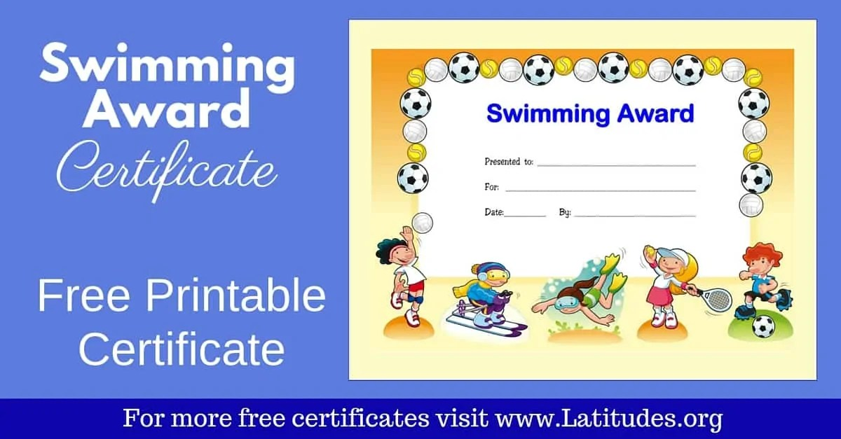 Free Award Certificate For Swimming Primary Acn Latitudes