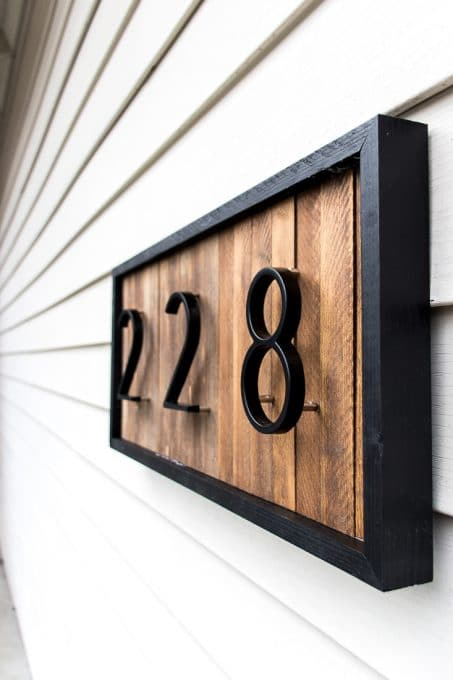 DIY Modern House Number Sign with Wood Shims Image of modern house number sign