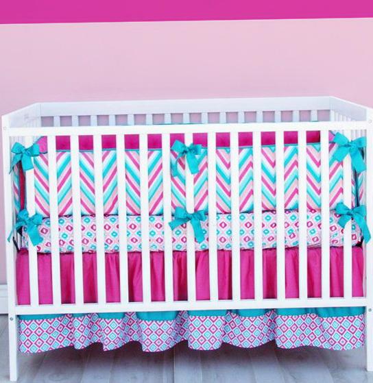 Baby Girl Crib Bedding Chevron