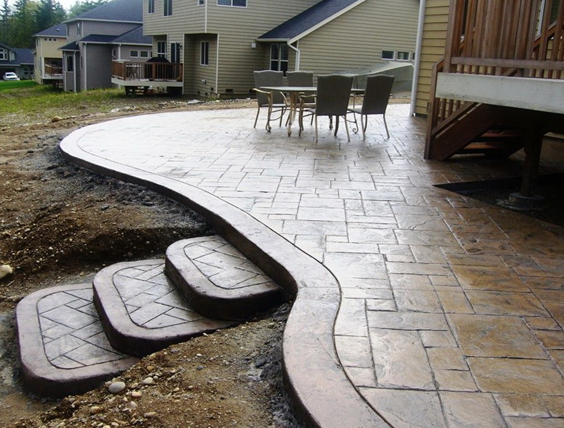 Stamped Concrete Patio With Stairs