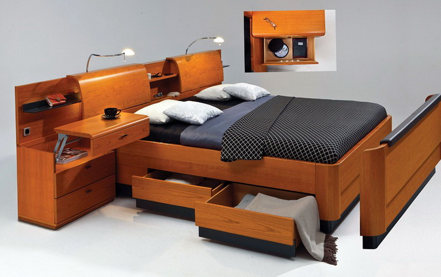 Bed With Drawers And Shelves