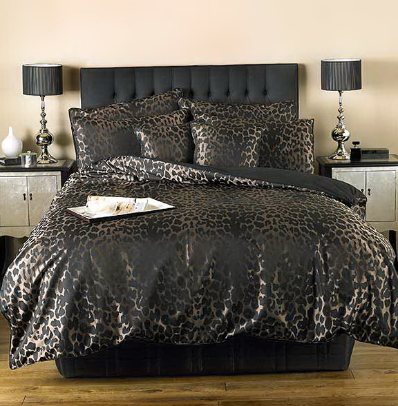 Black Leopard Print Bedding