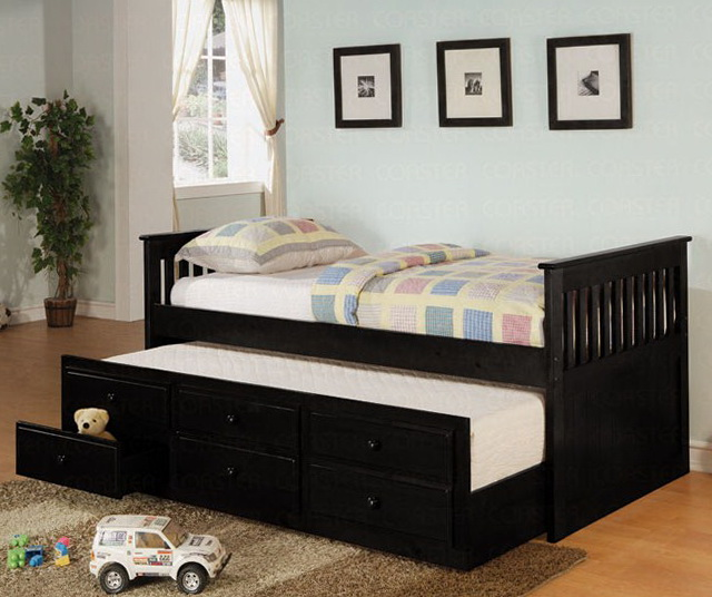 Black Twin Bed With Drawers