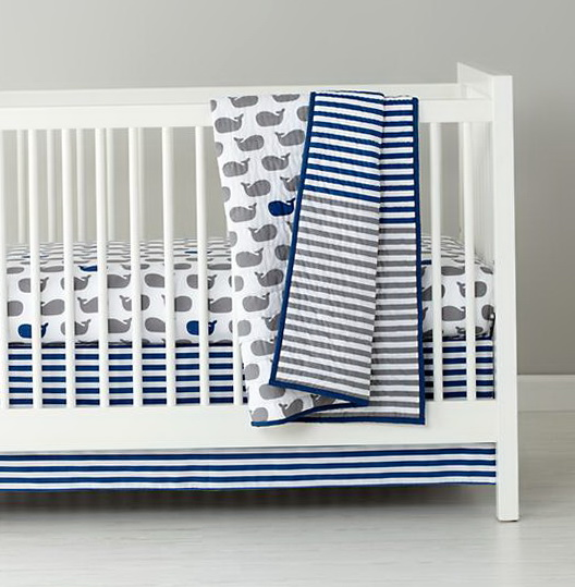 Blue Chevron Crib Bedding