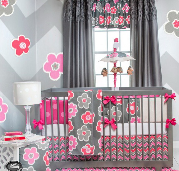 Chevron Girl Crib Bedding