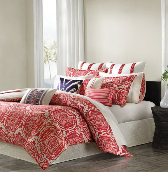 Coral Chevron Bedding Set