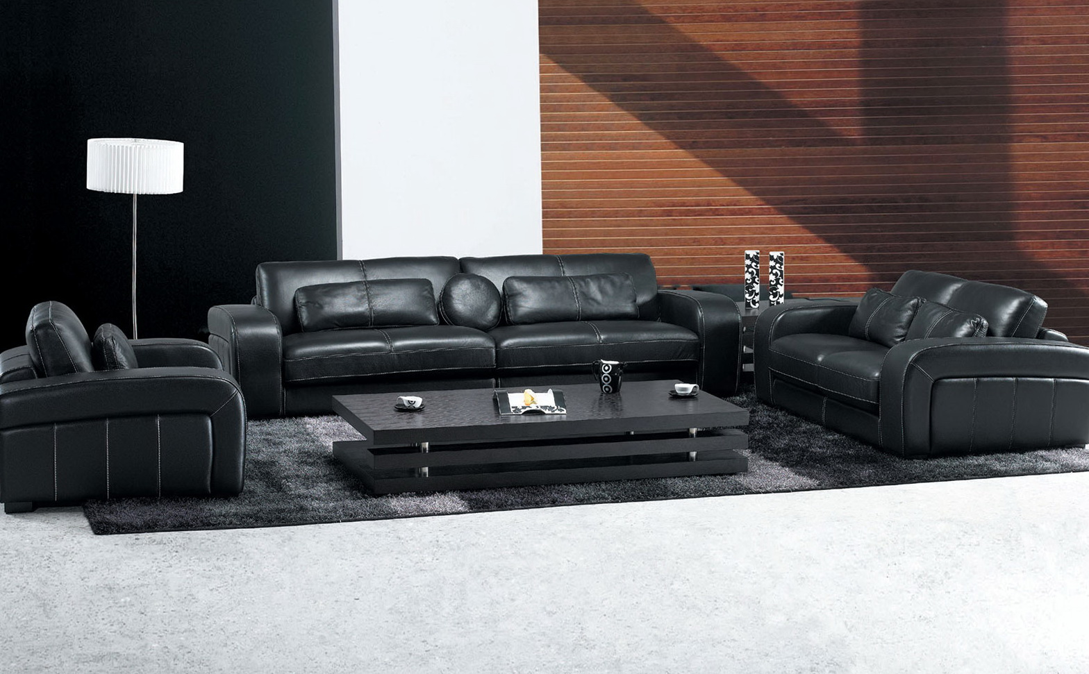 Black Leather Sofa Living Room