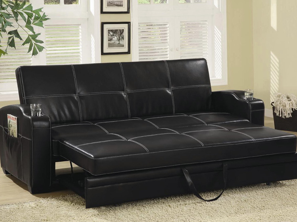 Black Leather Sofa With Cushions