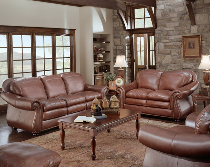 Brown Leather Sofa With Nailhead Trim