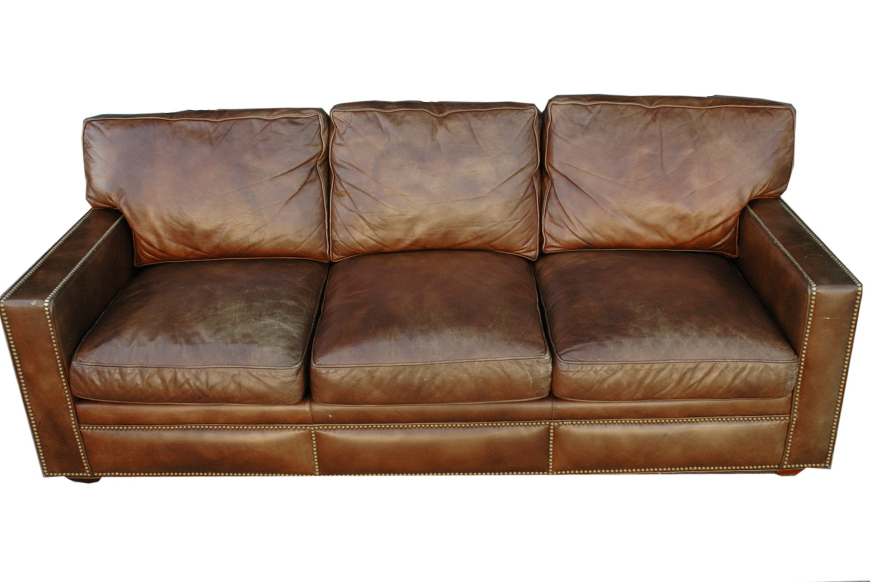 Distressed Leather Sofa Brown