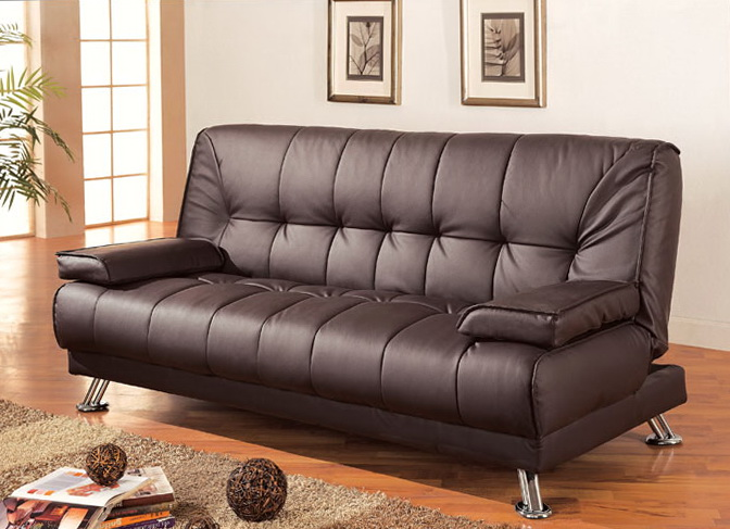 Futon Sofa Bed With Removable Arm Rests Brown Vinyl Leather Finish Home Life