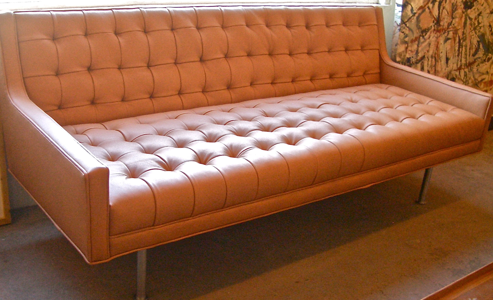 Leather Mid Century Modern Sofa