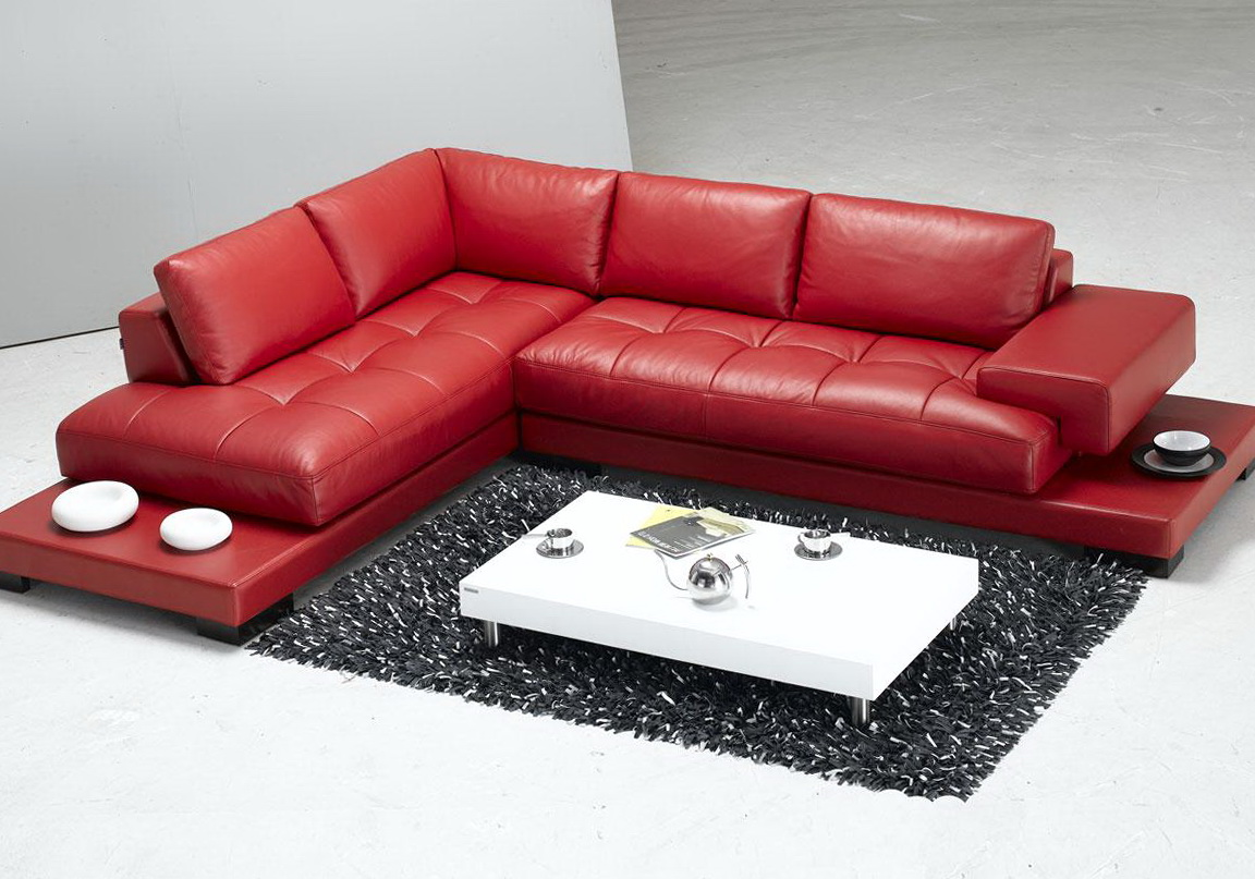 Red Italian Leather Sofa