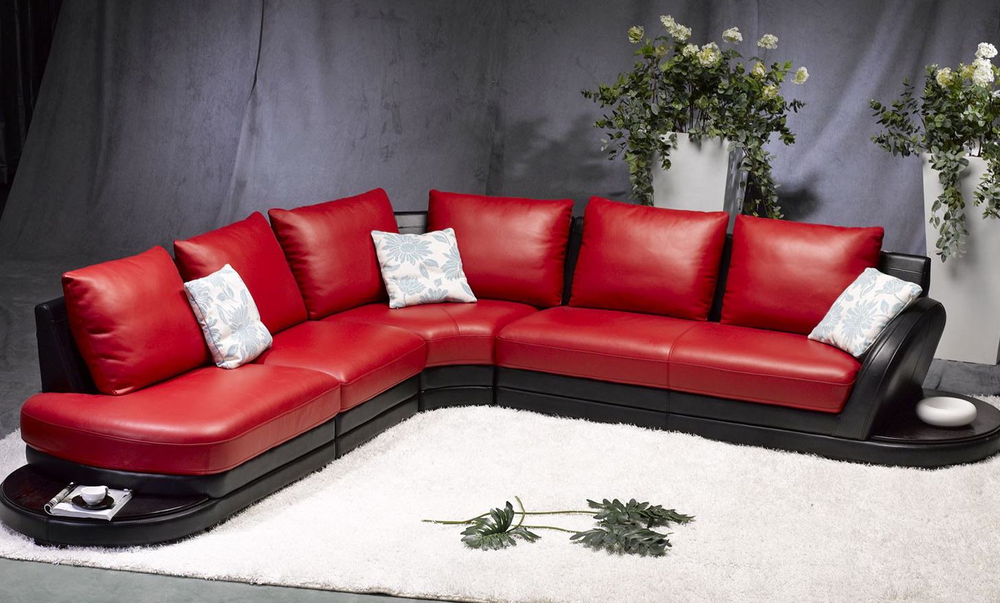 Red Leather Sofa Sectional