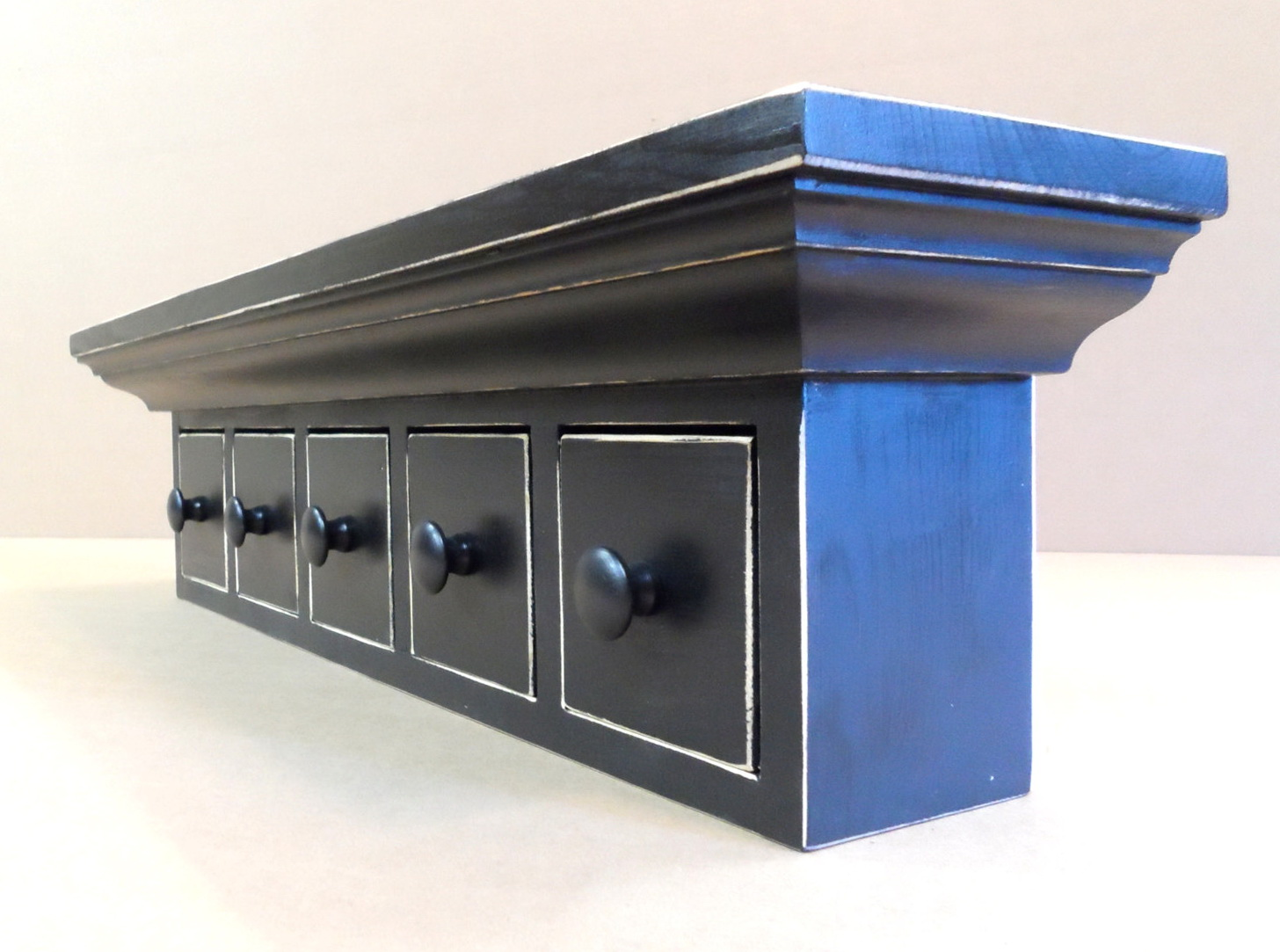 Black Wall Shelf With Drawers