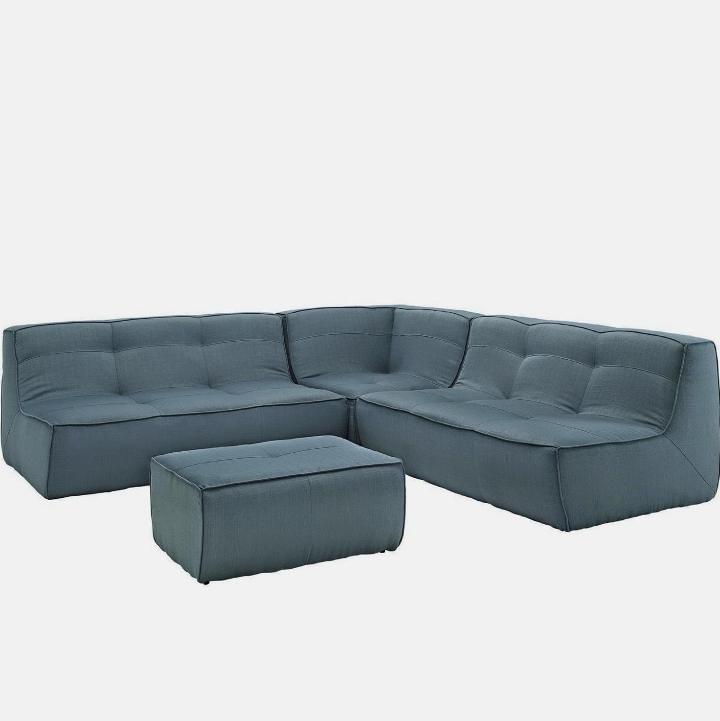 Blue Sectional Sofa Microfiber