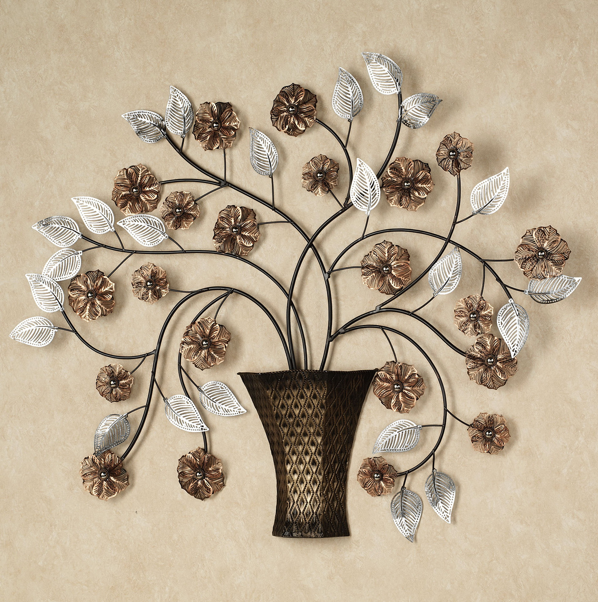Brown Metal Flower Wall Art