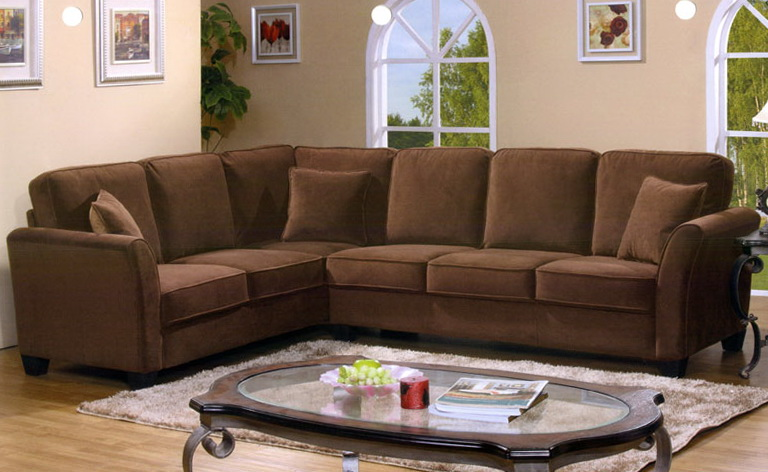 Brown Microfiber Sectional Sofa