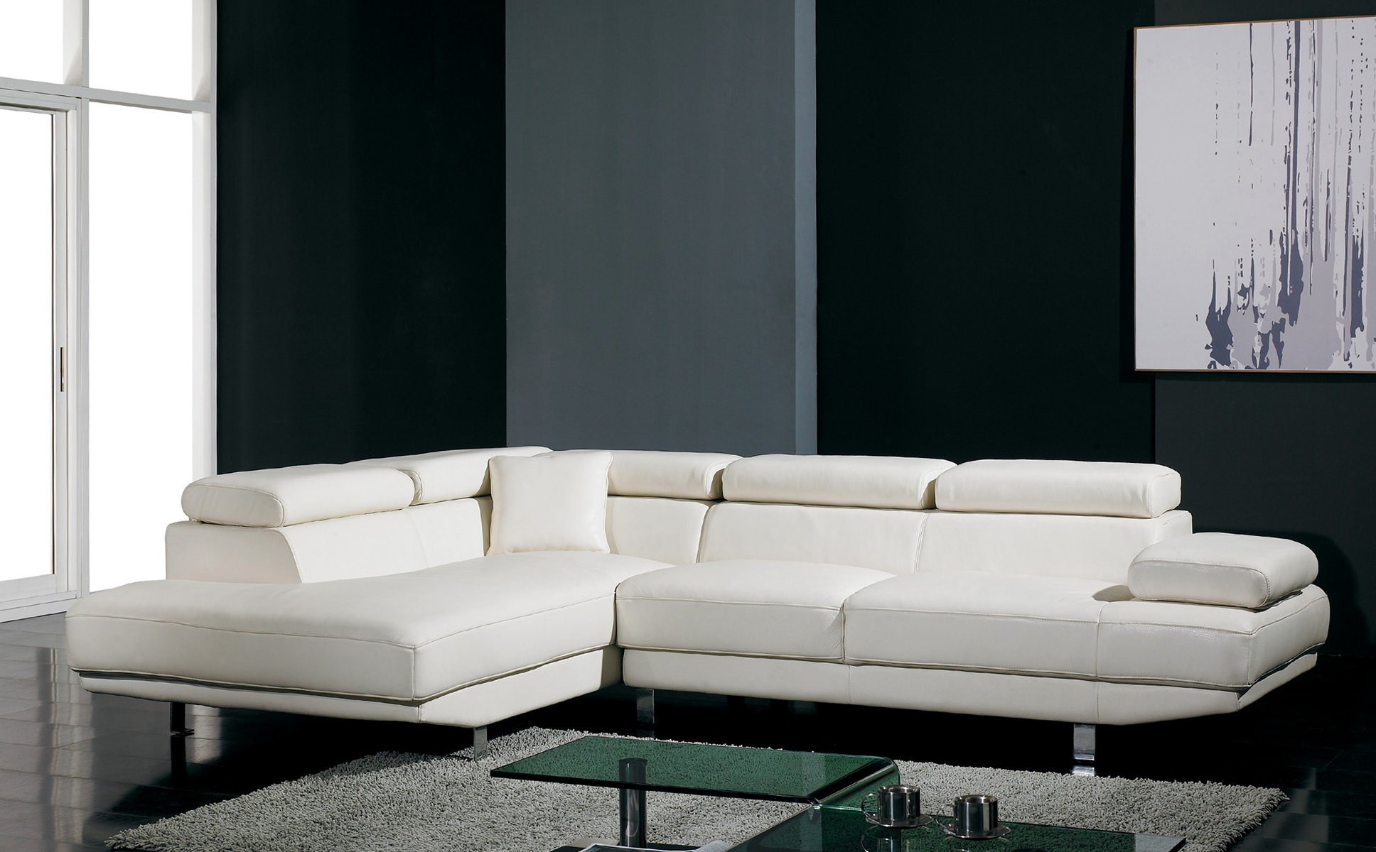 Contemporary White Sectional Sofa