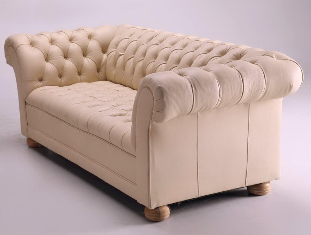 Cream Chesterfield Leather Sofa