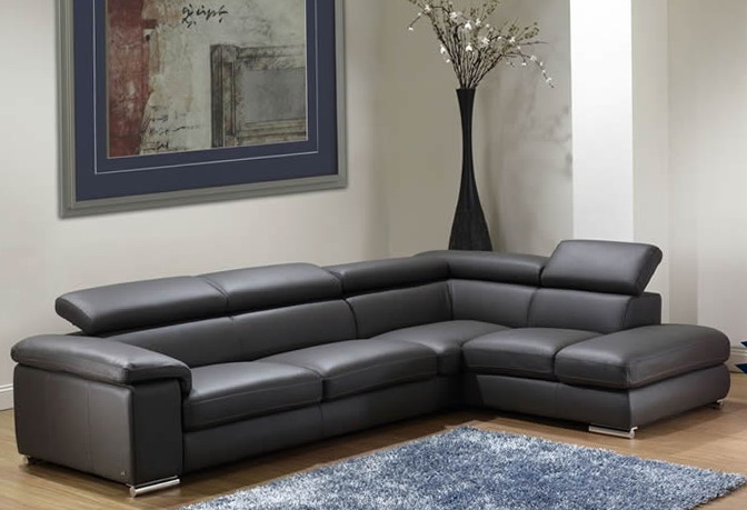 Dark Grey Leather Sofa