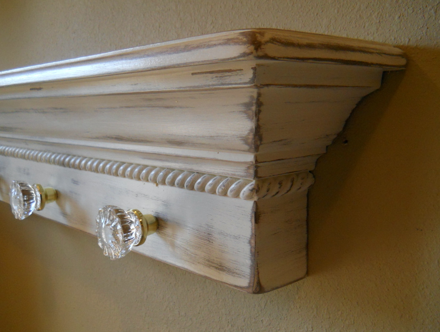 Distressed White Wall Shelf